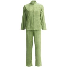 Microsuede Jacket and Pants Set (For Women) in Light Green - 2nds
