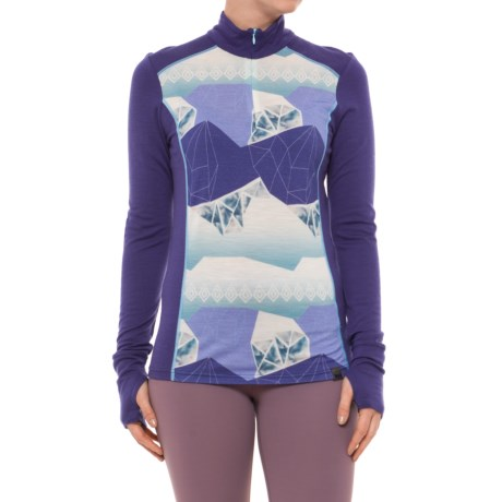 Mid Graphic Base Layer Shirt - Merino Wool, Zip Neck (For Women) thumbnail