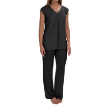 Midnight by Carole Hochman Core Modal Pajamas - Short Sleeve (For Women) in Black - Overstock