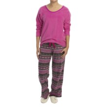 Midnight by Carole Hochman Microfleece Pajama Set - Long Sleeve (For Women) in Very Berry/Geo Stripe - Closeouts