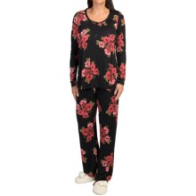 Midnight by Carole Hochman Rayon Pajamas - Long Sleeve (For Women) in Vintage Bouquets - Closeouts