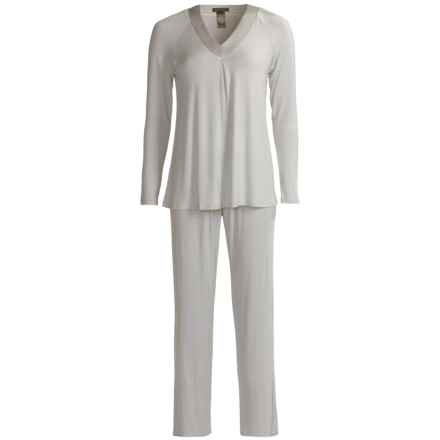 Midnight by Carole Hochman Supersoft Pajamas - Long Sleeve (For Women) in Silver - Closeouts