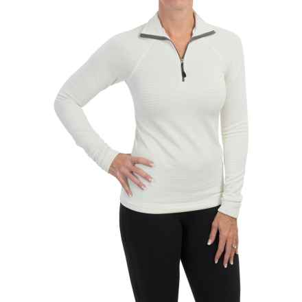 Midweight Grid-Fleece Shirt - Zip Neck, Long Sleeve (For Women) in Ivory - Closeouts