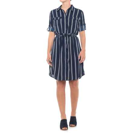 Millenium Belted Shirtdress - 3/4 Sleeve (For Women) in Navy - Closeouts
