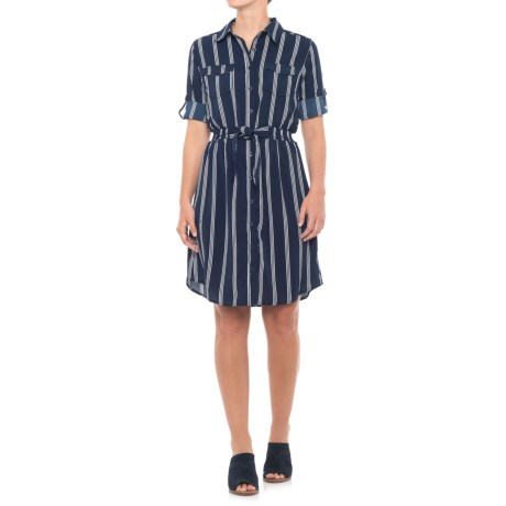 Millenium Belted Shirtdress - 3/4 Sleeve (For Women) in Navy