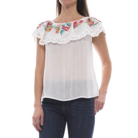 Millenium Embroidered Off-the-Shoulder Shirt - Short Sleeve (For Women) in Ivory