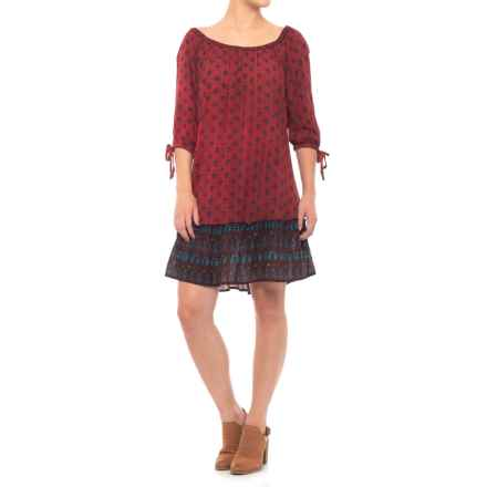 Millenium Printed Dress - 3/4 Sleeve (For Women) in Red - Closeouts