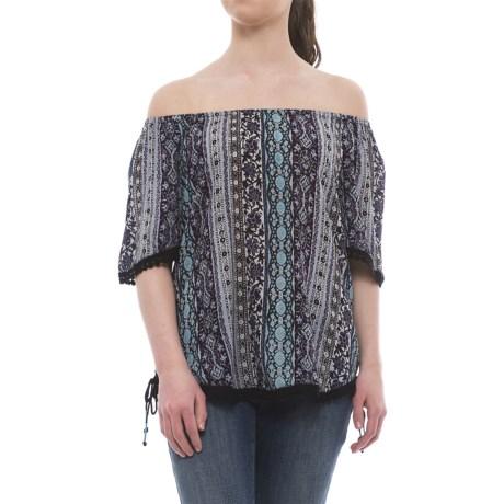 Millenium Printed Peasant Top - Short Sleeve (For Women) in Blue/Brown