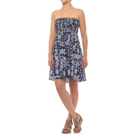 553142a5b Millenium Strapless Printed Dress - Sleeveless (For Women) in Navy -  Closeouts