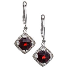 Millennium Creations 10K Gold Earrings - Created Emerald or Garnet in Garnet/10K White Gold - Closeouts