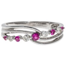 Millennium Creations 10K White Gold Ring - Ruby and Diamond Accents in Ruby - Closeouts