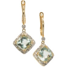 Millennium Creations 14K Gold Green Amethyst Earrings in Green Amethyst - Closeouts