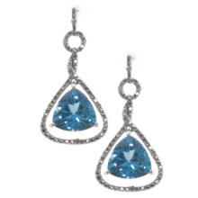 Millennium Creations Blue Topaz Earrings - 10K White Gold in Blue Topaz/Diamond/10K White Gold - Closeouts