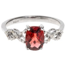 Millennium Creations Cushion Gemstone Ring - Sterling Silver in Garnet - Closeouts