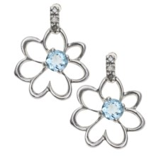 Millennium Creations Floral Aquamarine Earrings - 10K White Gold in Aquamarine/10K White Gold - Closeouts