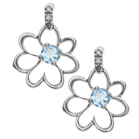Millennium Creations Floral Aquamarine Earrings - 10K White Gold in Aquamarine/10K White Gold