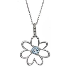 Millennium Creations Floral Aquamarine Necklace - 10K White Gold in Aquamarine/10K White Gold - Closeouts