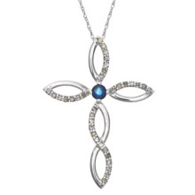 Millennium Creations Sapphire Cross Necklace - 10K White Gold in Australian Sapphire/10K White Gold - Closeouts