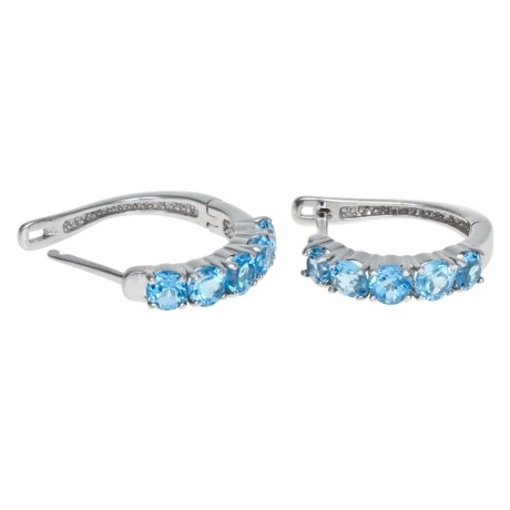 Millennium Creations Sterling Silver Gemstone Hoop Earrings in Blue Topaz/Sterling Silver