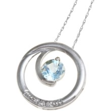 Millennium Creations Swirl Gemstone Pendant Necklace - 10K White Gold in Aquamarine - Closeouts
