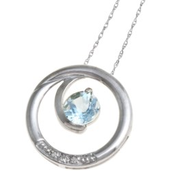Millennium Creations Swirl Gemstone Pendant Necklace - 10K White Gold in Cr Sapphire