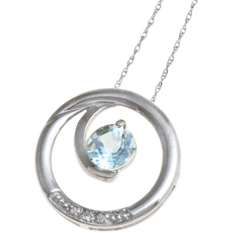 Millennium Creations Swirl Gemstone Pendant Necklace - 10K White Gold in Aquamarine