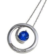 Millennium Creations Swirl Gemstone Pendant Necklace - 10K White Gold in Cr Sapphire - Closeouts