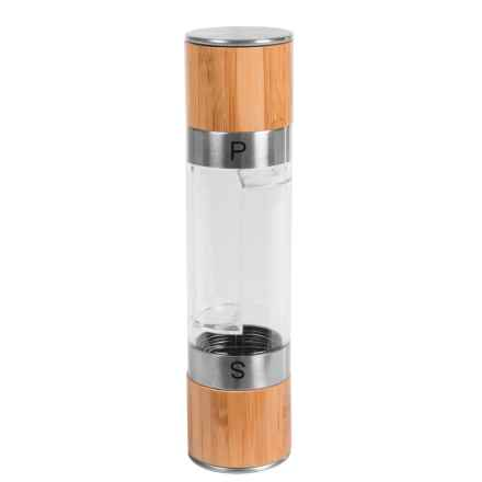 Mimo Style 2-in-1 Salt and Pepper Mill - Dual Chamber, Bamboo and Stainless Steel in Bamboo/Stainless Steel - Closeouts