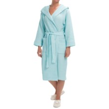 Mimosa by KayAnna Waffle Hooded Spa Robe - Long Sleeve (For Women) in Turquoise - Closeouts