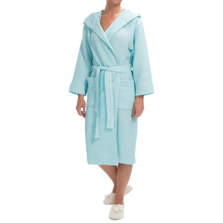 Mimosa by KayAnna Waffle Hooded Spa Robe Long Sleeve (For Women)