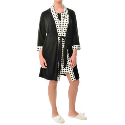 Mimosa by KayAnna Wrap Robe - 3/4 Sleeve (For Women) in Black - Closeouts