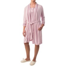 Mimosa by KayAnna Wrap Robe - 3/4 Sleeve (For Women) in Pink - Closeouts