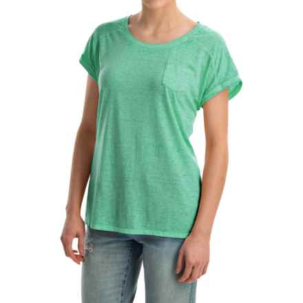 Mineral-Washed Pocket T-Shirt - Short Sleeve (For Women) in Green - 2nds