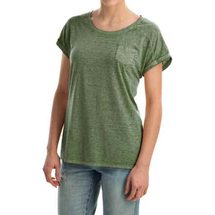 Mineral-Washed Pocket T-Shirt - Short Sleeve (For Women) in Olive Spring - 2nds
