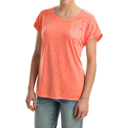 Mineral-Washed Pocket T-Shirt - Short Sleeve (For Women) in Peach - 2nds