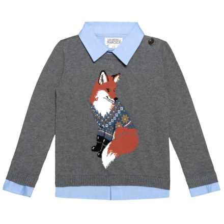 Ministry of Rascals Intarsia Fox Sweater (For Toddlers) in Medium Heather Grey - Closeouts
