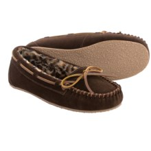 Minnetonka Allie Junior Trapper II Slippers (For Women) in Chocolate W/ Cheetah Print Lining - Closeouts