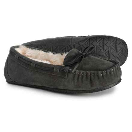 Minnetonka Allie Junior Trapper Slippers (For Women) in Charcoal - Closeouts