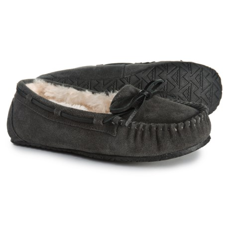 Minnetonka Allie Junior Trapper Slippers (For Women) in Charcoal