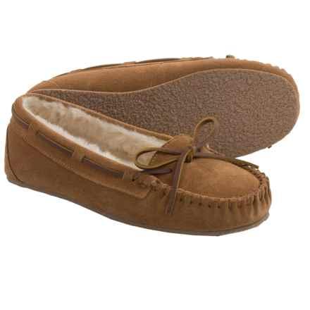 Minnetonka Allie Junior Trapper Slippers (For Women) in Cinnamon W/ Tan Pile Lining - Closeouts