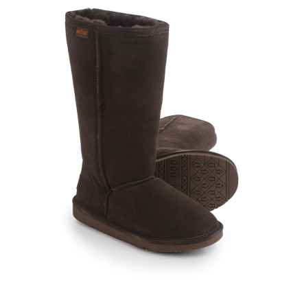 "Minnetonka Calgary Tall Sheepskin Boots - 12"" (For Women) in Chocolate - Closeouts"
