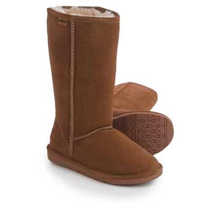 "Minnetonka Calgary Tall Sheepskin Boots - 12"" (For Women) in Tan - Closeouts"