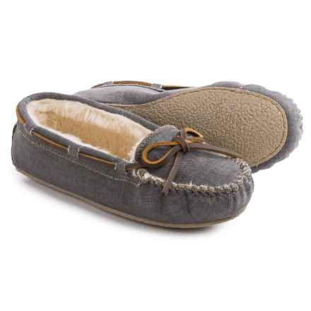 Minnetonka Cally Moccasins - Canvas (For Women) in Black - Closeouts