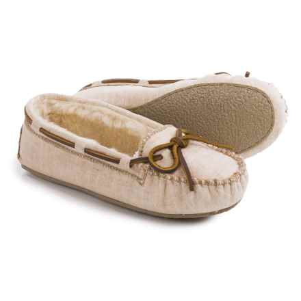 Minnetonka Cally Moccasins - Canvas (For Women) in Natural - Closeouts