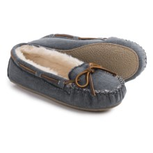 Minnetonka Cally Moccasins - Canvas (For Women) in Navy - Closeouts
