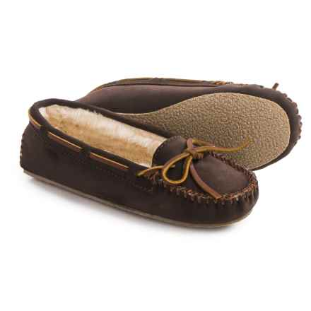 Minnetonka Cally Moccasins - Leather (For Women) in Brown Suede - Closeouts