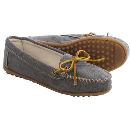 Minnetonka Canvas Moccasins (For Women) in Black