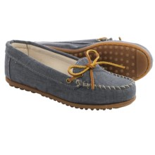 Minnetonka Canvas Moccasins (For Women) in Navy - Closeouts