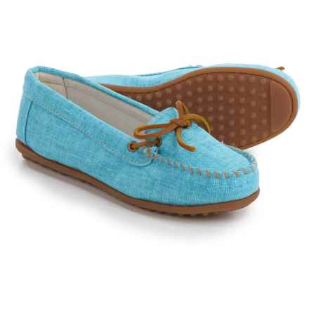 Minnetonka Canvas Moccasins (For Women) in Turquoise - Closeouts