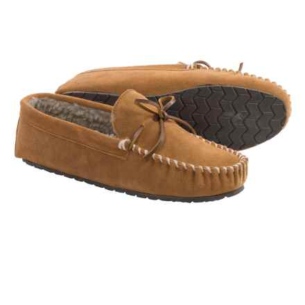 Minnetonka Curtis Classic Trapper Moccasins - Suede (For Men) in Cinnamon - Closeouts